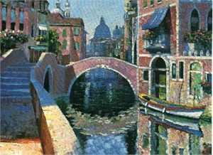 "Howard Behrens Limited Edition Serigraph on Paper: ""Reflections of Venice"""