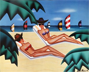 "Robin Morris Limited Edition Lithograph on Paper: ""Sunbathers"""
