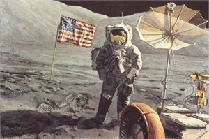 "Alan Bean Astronaut Artist Hand-Signed Limited Edition Canvas Giclee :""Savoring the Moment"""