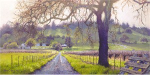 """June Carey Hand Signed and Numbered Limited Edition Canvas Giclee:""""Early Spring Sonoma Valley"""""""