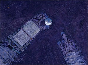 "Alan Bean Astronaut Artist Hand-Signed Limited Edition Canvas Giclee:""Our World at My Fingertips"""