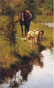 "Howard Terpning Hand Signed and Numbered Limted Edition Giclée Canvas:""Caution Born of Necessity"""