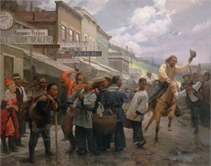 "Mian Situ Handsigned and Numbered Limited Edition Giclée Canvas:""The Newcomers, Deadwood, South Dakota, 1878"""