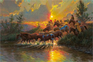 "Mark Keathley Limited Edition Hand-Embellished Canvas Giclee:""Morning Roundup"""