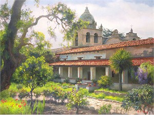 "June Carey Fine Art Open Edition Canvas Giclee:""Carmel Mission Garden"""