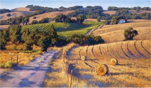 "June Carey Hand Signed and Numbered Limited Edition Canvas Giclee:""Old Napa Road"""