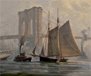 "Don Demers Limited Edition Canvas Giclee:""Working Through a Fog, East River, NYC"""