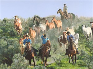 """John Bye Hand Signed and Numbered Limited Edition Canvas Giclée:""""Drivin' em Home"""""""