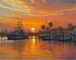 "Mark Keathley Limited Edition Hand-Embellished Canvas Giclee:""Sunset Harbor"""