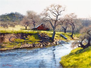 "June Carey Hand Signed & Number Limited Edition Giclee on Canvas:""Early Spring at Stony Creek"""