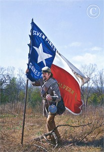 "John Paul Strain Hand Signed and Numbered Limited Edition Giclee:""The Texas Battle Flag"""