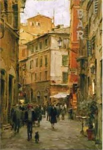 "Dimitri Danish Handsigned and Numbered  Limited Edition Embellished Giclee on Canvas:""Stroll Through the City """