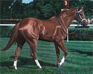 "Ken Keeley Handsigned and Numbered Limited Edition Giclee on Canvas :""SECRETARIAT IN THE FIELD"""