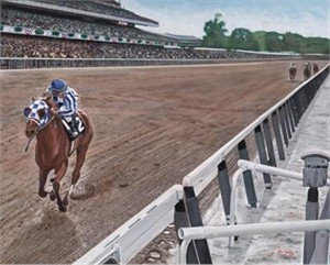 "Ken Keeley Handsigned and Numbered Limited Edition Giclee on Canvas  :""SECRETARIAT WINNING TRIPLE CROWN"""