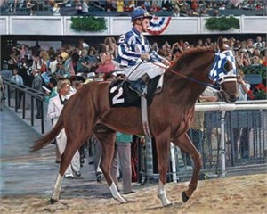 "Ken Keeley Handsigned and Numbered Limited Edition Giclee on Canvas :""SECRETARIAT WITH RON TURCOTT ON BOARD"""