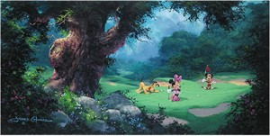 "James Coleman Handsigned and Numbered Limited Edition Embellished Giclee on Canvas: ""On the Green"""