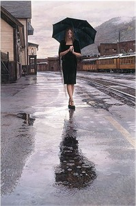 "Steve Hanks Handsigned & Numbered Limited Edition Giclee on Canvas:""Waiting in the Rain"""