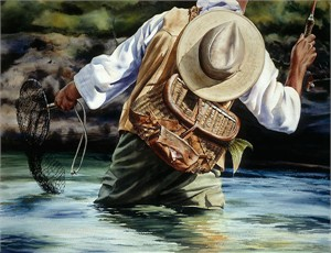 "Nelson Boren Handsigned and Numbered Limited Edition Giclée on Paper:""Small River Big Fish"""