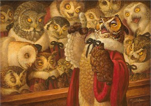 "Scott Gustafson Handsigned and Numbered Limited Edition Giclée Canvas:""A Parliament of Owls"""