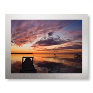 "Matt Lusk Limited Edition Ready to Hang Giclee on Brushed Aluminum: ""Sunset Dock"""