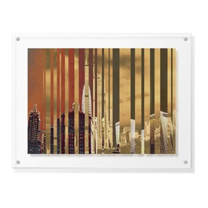 "MJ Lew Limited Edition Ready to Hang Giclee on Clear Acrylic: ""City of Gold"""