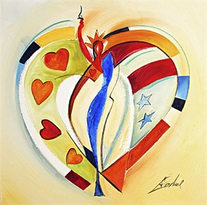 "Alex Gockel Handsigned & Numbered Limited Edition Giclee on Canvas:""American Hearts I"""