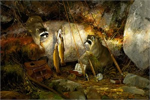 """Michael Coleman Hand Signed and Numbered Limited Edition Giclee:""""Racoons on the North Fork"""""""