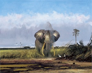 """Michael Coleman Hand Signed and Numbered Limited Edition Giclee:""""Masai Land"""""""