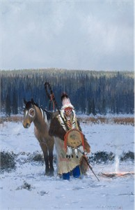 "Michael Coleman Hand Signed and Numbered Limited Edition Giclee:""Blackfeet Standup Bonnet"""