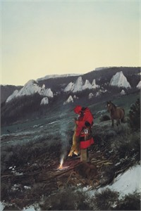 "Michael Coleman Hand Signed and Numbered Limited Edition Giclee:""Bobcat Trapper"""