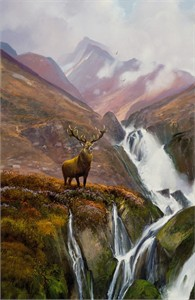 "Michael Coleman Hand Signed and Numbered Limited Edition Giclee:""A Scottish Stag"""