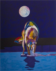 """John Nieto Handsigned & Numbered Limited Edition Serigraph:""""Wolf Drinking Water By The Moonlight"""""""
