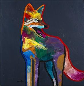 "John Nieto Open Edition Canvas Giclee:""Handsome Coyote"""