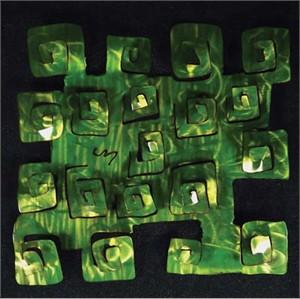 "Jason Mernick Torch Painter Original Metal Art :""Pop Square Lime"""