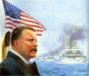 "Mort Kunstler Handsigned and Numbered Limited Edition Giclee on Canvas:""Great White Fleet Sails, The"""