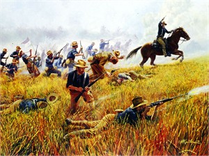 "Mort Kunstler Handsigned and Numbered Limited Edition AP Canvas Giclee:""Rough Riders, The"""