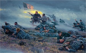 """Mort Kunstler  Handsigned and Numbered Limted Edition Canvas Giclee:""""Courage in Blue"""""""