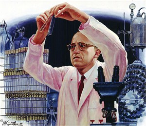 "Mort Kunstler Hand Signed and Numbered Limited Edition Giclee Canvas:""Jonas Salk's Polio Vaccine"""