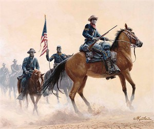 "Mort Kunstler Handsigned and Numbered Limited Edition Giclee on Canvas:""Buffalo Soldiers of the West"""