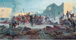 "Mort Kunstler Handsigned and Numbered Limited Edition Giclee on Canvas:""Fall of the Alamo, The"""