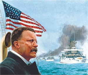 """Mort Kunstler Handsigned and Numbered Limited Edition Giclee on Canvas:""""Great White Fleet Sails, The"""""""