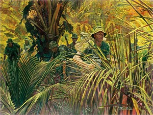 "Mort Kunstler Handsigned and Numbered Limited Edition Giclee on Canvas:""Indiana Rangers: The Army Guard in Vietnam"""