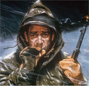 "Mort Kunstler Handsigned and Numbered Limited Edition Giclee on Canvas:""Korean Winter"""