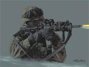 "Mort Kunstler Handsigned and Numbered Limited Edition Giclee on Canvas:""Night Warrior"""