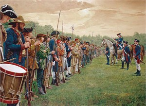 "Mort Kunstler Handsigned and Numbered Limited Edition Giclee on Canvas:""Reading the Declaration of Independence to the Troops"""