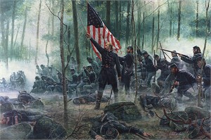 "Mort Künstler 2011 Hand Signed and Numbered Masterpiece Collection Canvas Giclee:""Hero of Little Round Top"""