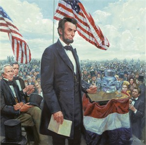 "Mort Kunstler Handsigned and Numbered Limited Edition Giclee on Canvas:""Gettysburg Address, The The Presidential Collection"""