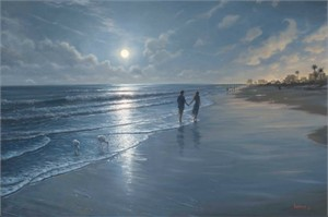 "Mark Keathley Hand Signed and Numbered Limited Edition Embellished Canvas Giclee:""Romantic Moon"""