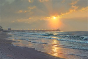 "Mark Keathley Hand Signed and Numbered Limited Edition Embellished Canvas Giclee:""Radiant Sunrise"""
