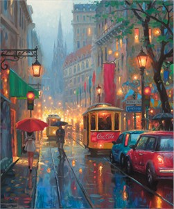"""Mark Keathley Hand Signed and Numbered Limited Edition Embellished Canvas Giclee:""""City Lights"""""""